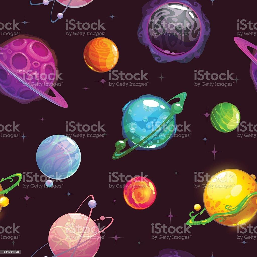 Seamless pattern with fantasy cartoon planets vector art illustration