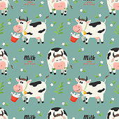 Seamless pattern with farm cows and milk bottle. Vector illustration for your design