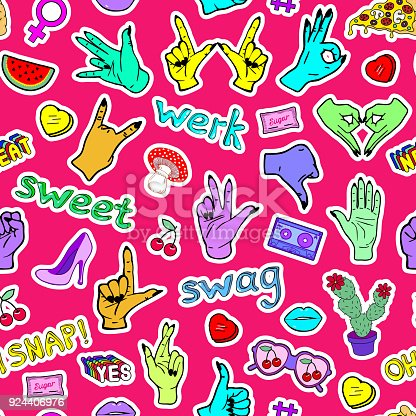 """Seamless pattern with fashion patches, slang words, phrases """"Oh snap!"""", """"Swag"""", """"Werk"""", """"Sweet"""" and hand gestures. Bright red  background."""