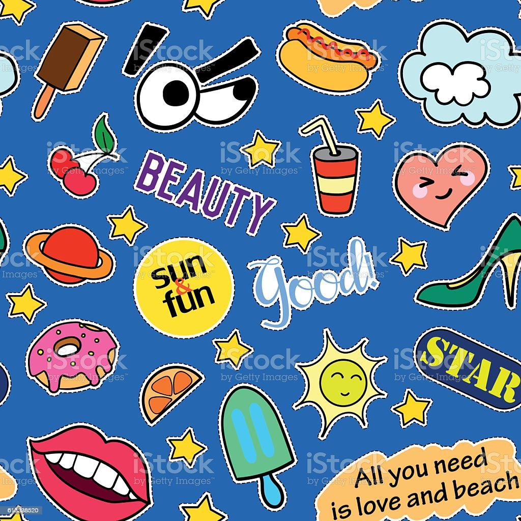 Seamless Pattern With Fashion Patches Stickers Pins And