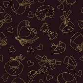 Seamless pattern with fashionable collars and bow ties