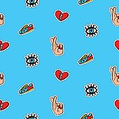 Seamless pattern with fashionable patch badges set, on blue background. Comic stickers, pins, patches doodle in cartoon pop art 80s-90s style. Vector illustration