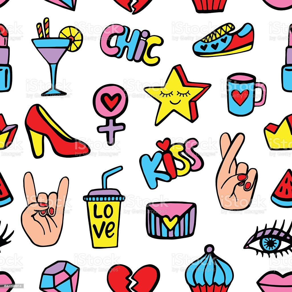Seamless pattern with fashionable patch badges set vector art illustration