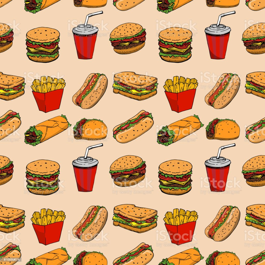 Seamless pattern with fast food. Hamburger, hot dog, burrito, sandwich. Design element for poster, wrapping paper. Vector illustration vector art illustration