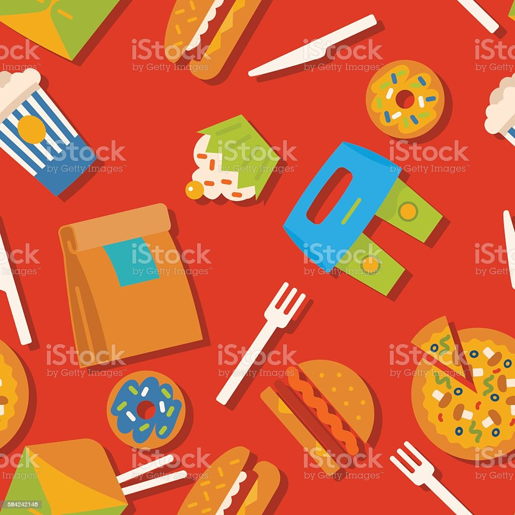 Seamless Pattern With Fast Food Symbols Menu Background Stock Vector