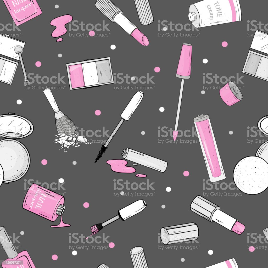 Seamless pattern with female cosmetics. Decorative cosmetics for face...