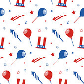 Seamless pattern with festive attributes. USA Independence Day. 4th of July. Vector wallpaper.