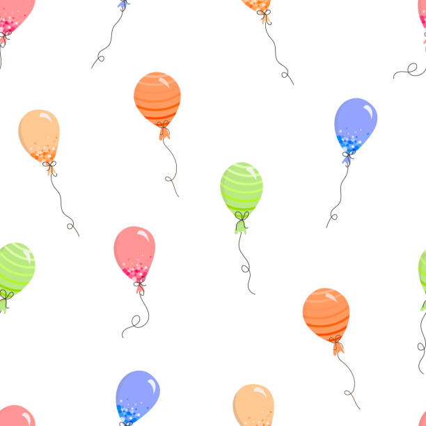 Seamless pattern with festive balloons in Doodle style. vector art illustration
