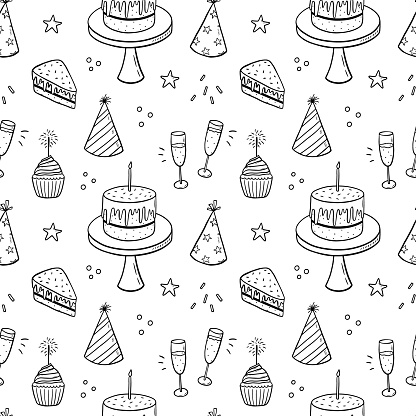 Seamless pattern with festive cakes, party hats and champagne