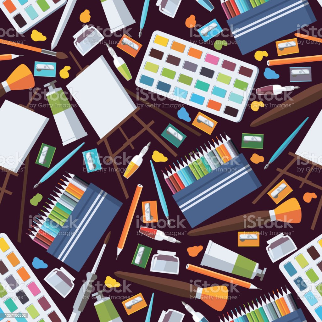 Seamless Pattern With Fine Art Objects Artist Supplies Like