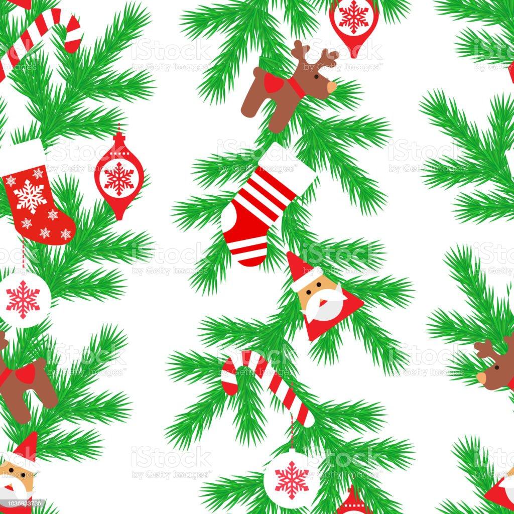 Tannenbaum Muster.Nahtlose Muster Mit Tannenbaum Weihnachtsmann Weihnachten Socken