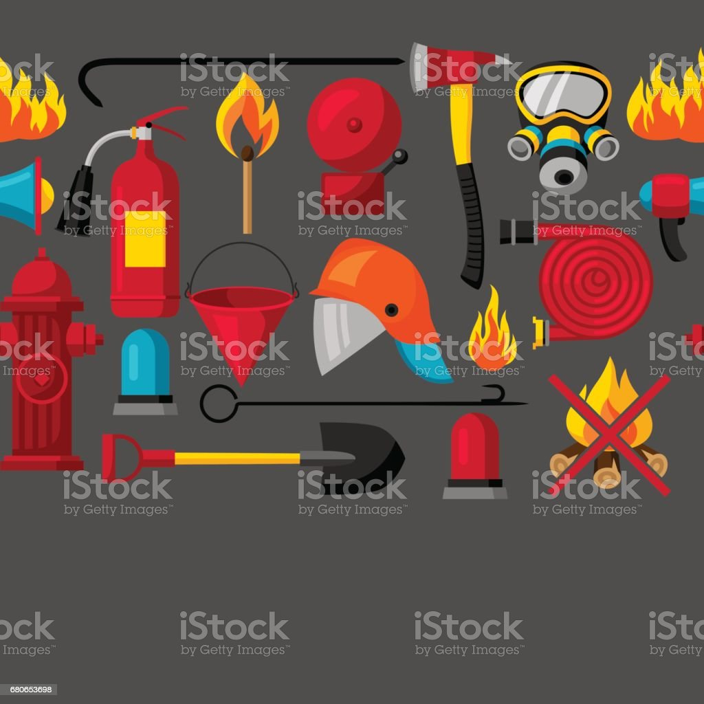Seamless pattern with firefighting items. Fire protection equipment vector art illustration