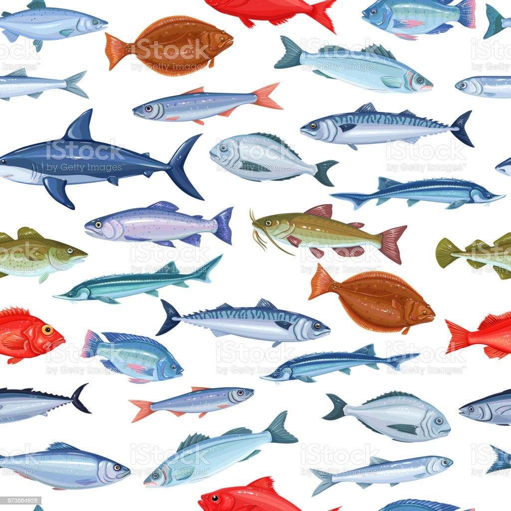 Patrones sin fisuras con pescado - ilustración de arte vectorial