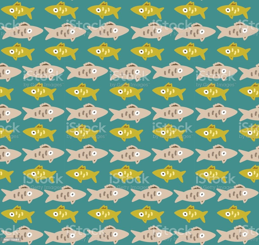 Seamless pattern with fishes rows vector art illustration