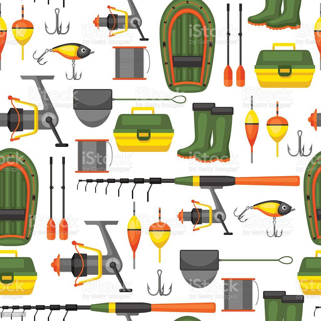 Seamless pattern with fishing supplies. Background made without clipping mask vector art illustration