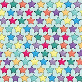 Seamless pattern with five-finger or five point bright stars