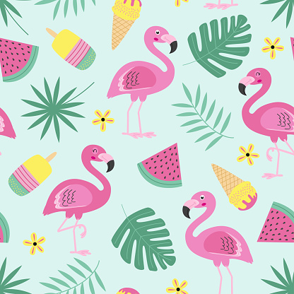 seamless pattern with flamingo, ice cream, fruit, tropical leaf