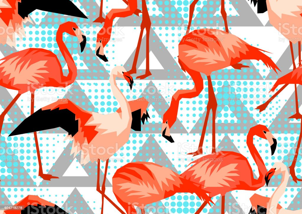 seamless pattern with flamingo tropical bright abstract birds stock
