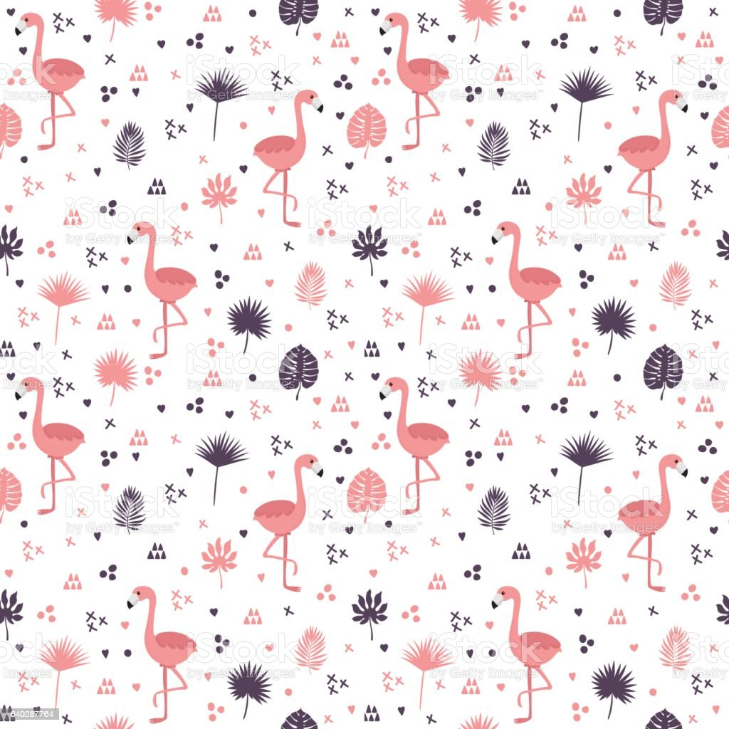 Seamless Pattern With Flamingos And Leaves Cute Background ...