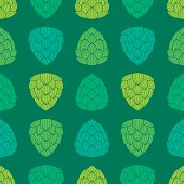 Seamless pattern with flat style green color hops.