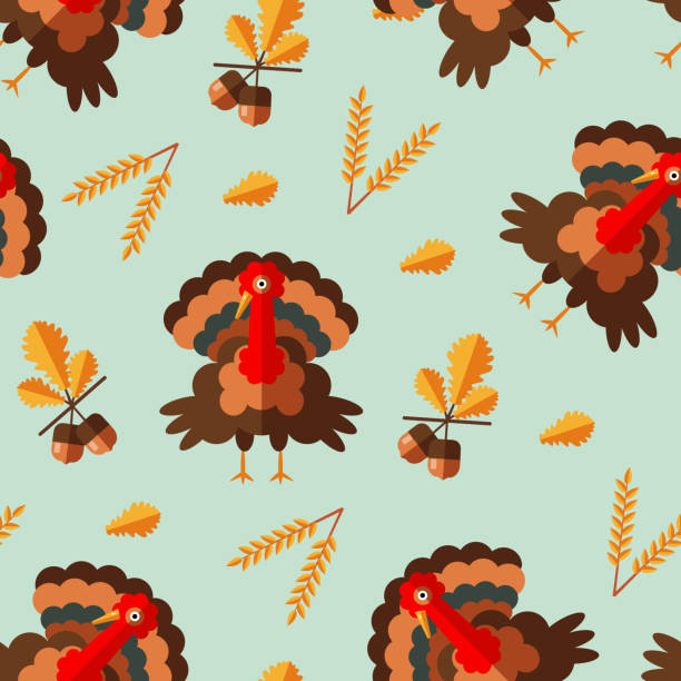 Seamless pattern with flat style icons of funny turkey, acorns, barley ear for thanksgiving day. Vector illustration. Seamless pattern with flat style icons of funny turkey, acorns, barley ear for thanksgiving day. Background with simple elements for different design. animals with big penis stock illustrations