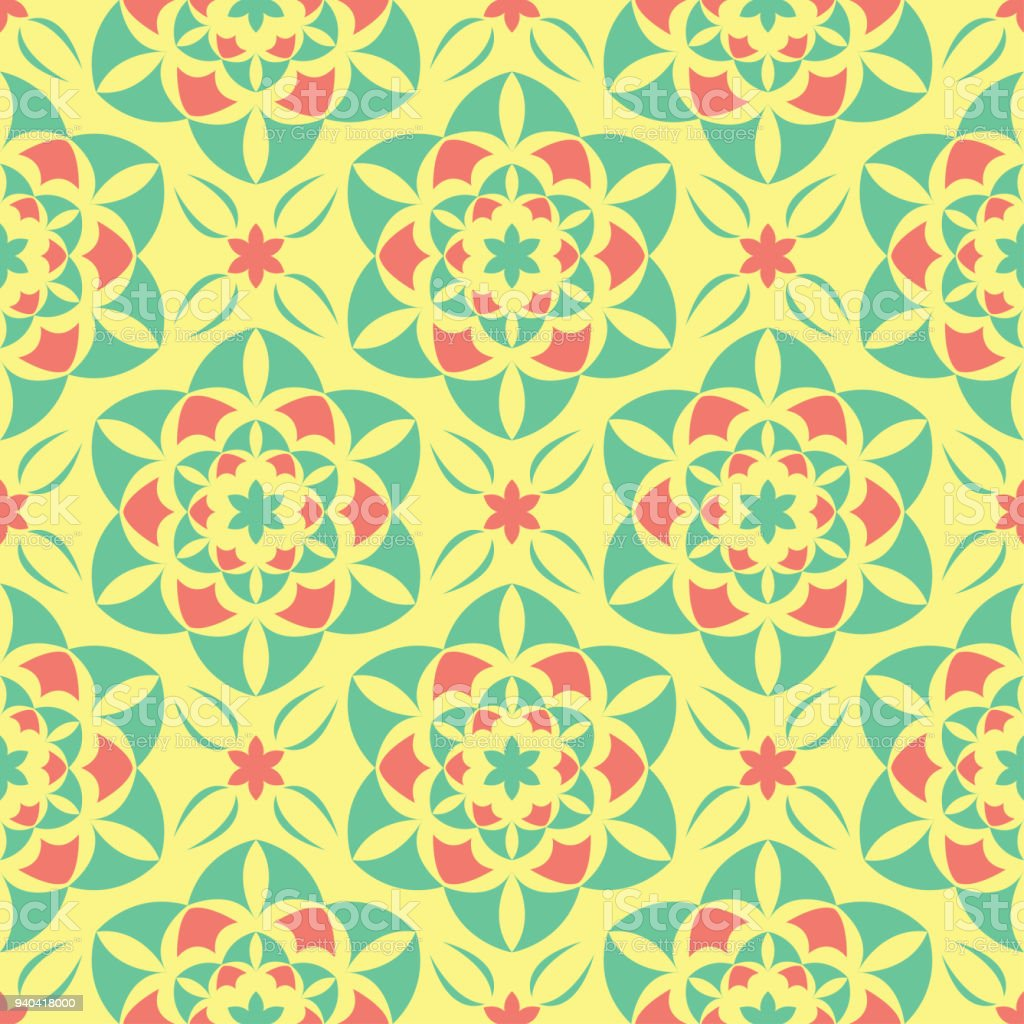 Seamless Pattern With Floral Design Bright Yellow Background With