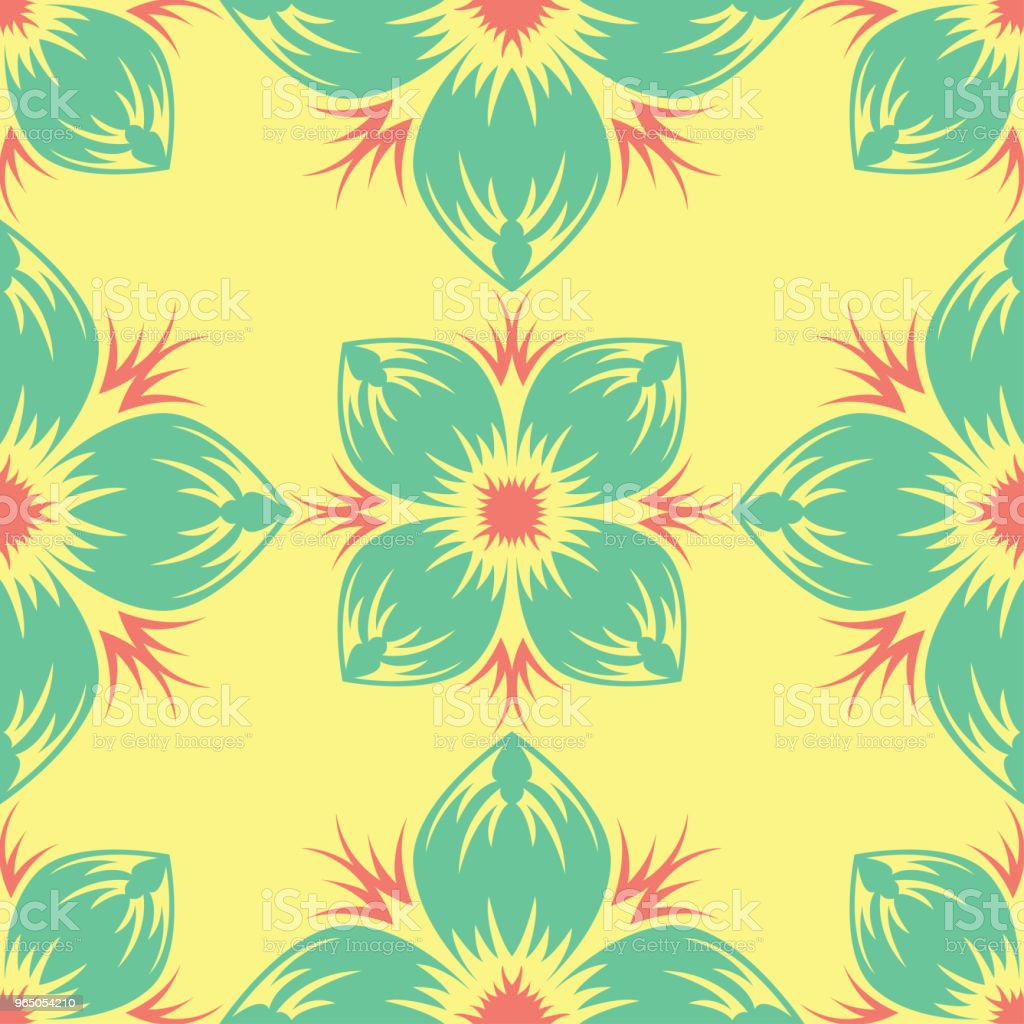 Seamless pattern with floral design. Bright yellow background with pink and green flower elements seamless pattern with floral design bright yellow background with pink and green flower elements - stockowe grafiki wektorowe i więcej obrazów abstrakcja royalty-free