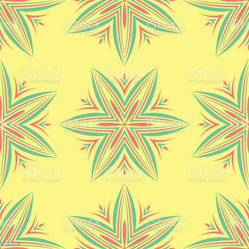Seamless pattern with floral design. Bright yellow background with pink and green flower elements - Royalty-free Abstract stock vector
