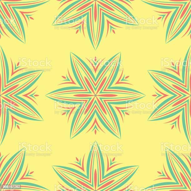 Seamless Mönster Med Blommönster Ljus Gul Bakgrund Med Rosa Och Grön Blomma Element-vektorgrafik och fler bilder på Abstrakt
