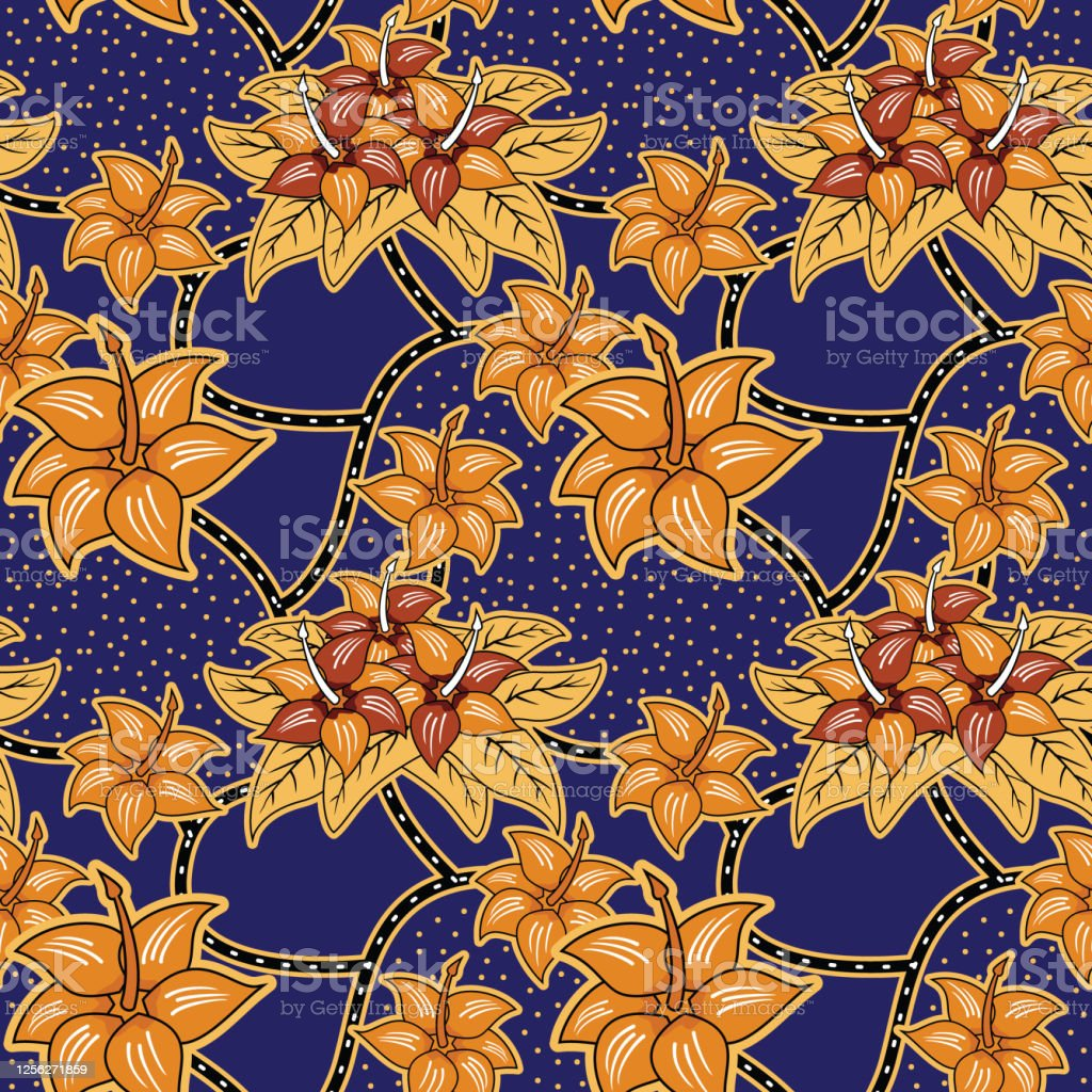Seamless Pattern With Floral Illustration Indonesian Batik Motif ...
