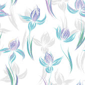 Seamless pattern with floral ornament, irises in a grunge style