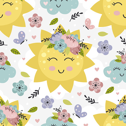 seamless pattern with floral sun and cloud