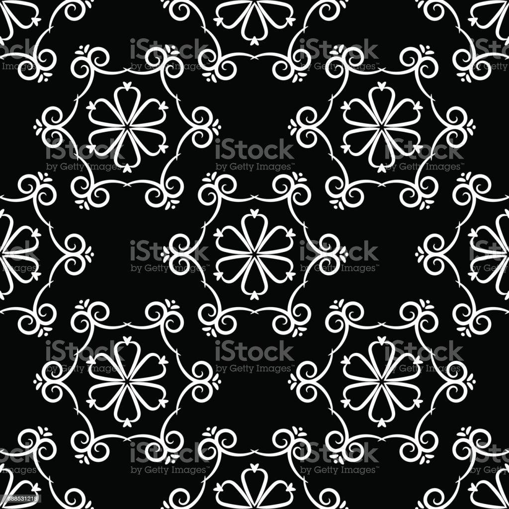 Nahtlose Muster Mit Blumeelement Schwarz Weiß Abstrakte Wallpaper