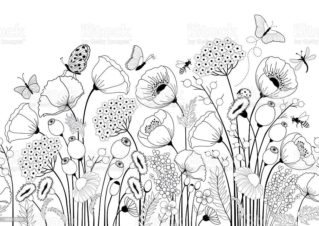 Seamless pattern with  flowers and butterflies vector art illustration