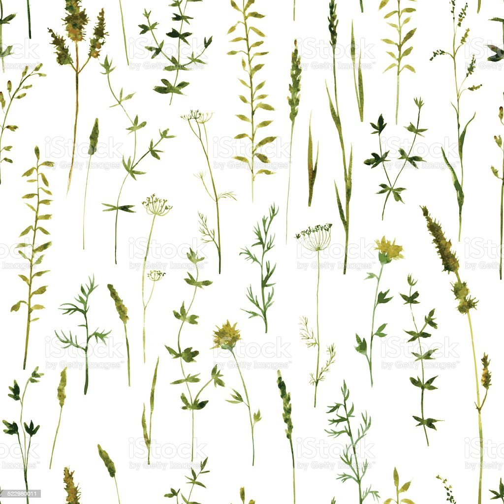 Seamless pattern with flowers and grass vector art illustration