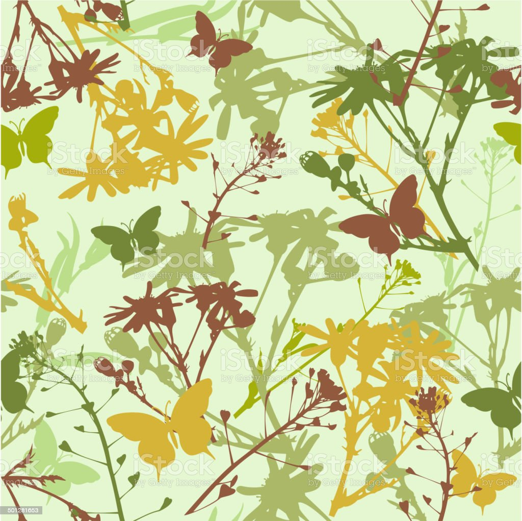 seamless pattern with flowers and leaves vector art illustration