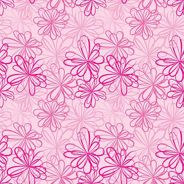 ilustrações de stock, clip art, desenhos animados e ícones de sem costura padrão com flores sobre fundo rosa e fitas. - lian empty