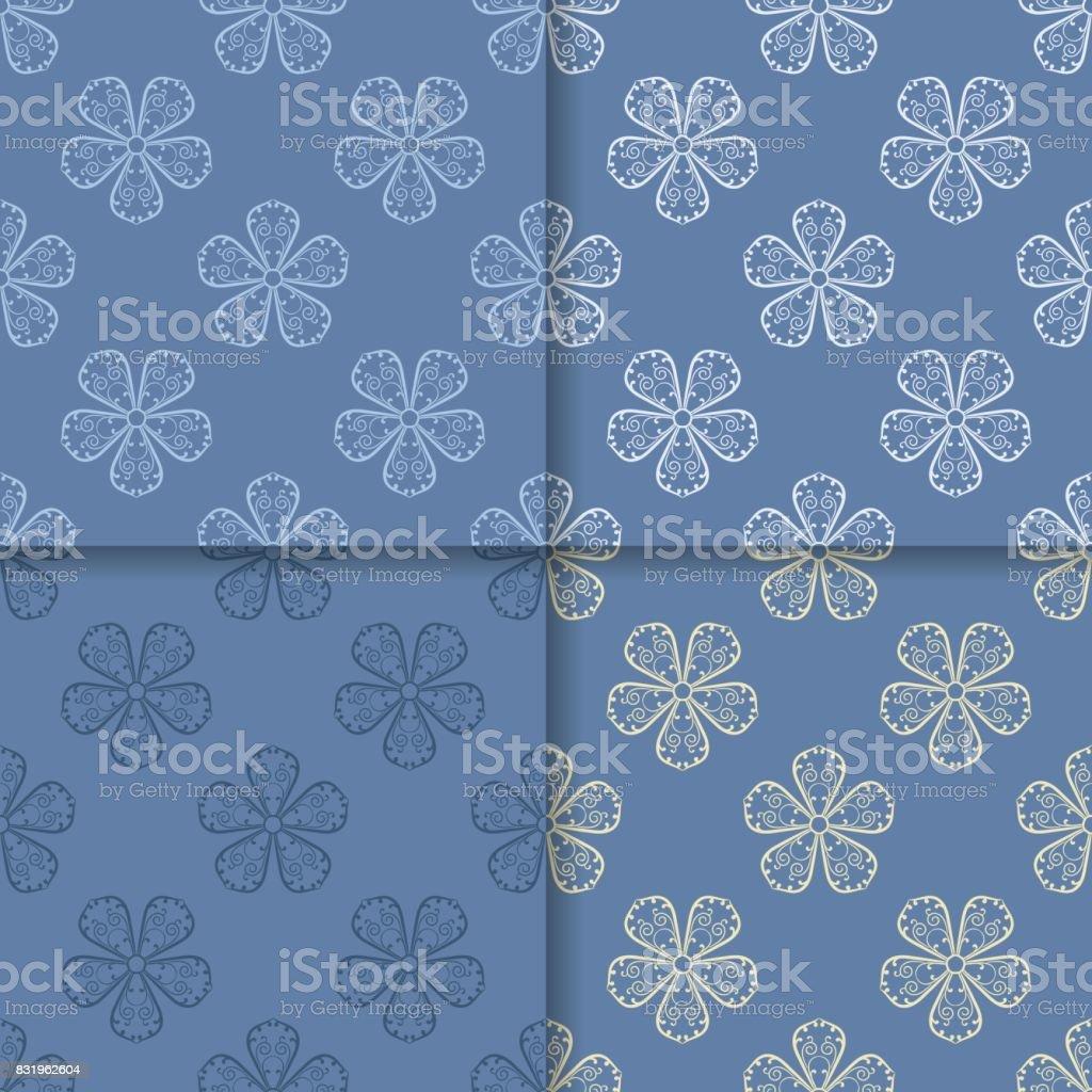 Nahtlose Muster Mit Blumen Blaue Tapete Stock Vektor Art Und Mehr