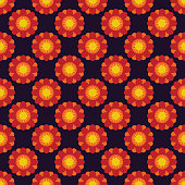 Seamless black pattern with orange and red stylized flowers, ethnic ornament