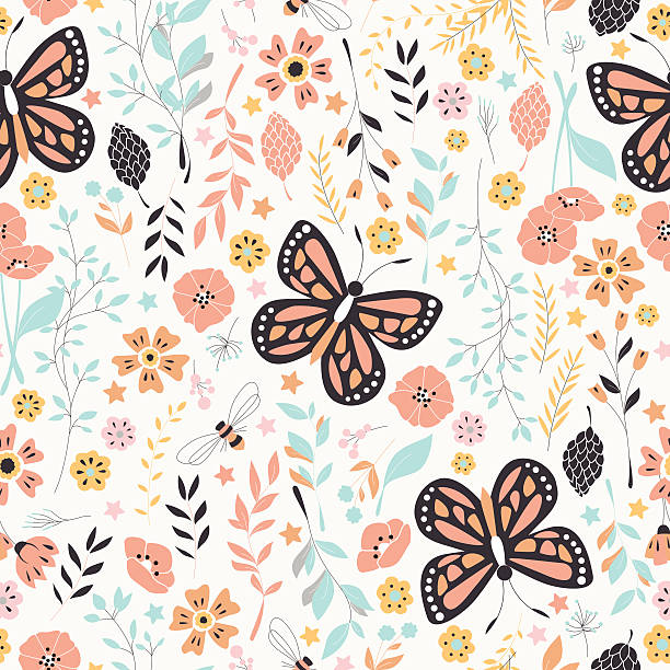 Seamless pattern with flowers, floral elements and butterflies, nature life vector art illustration