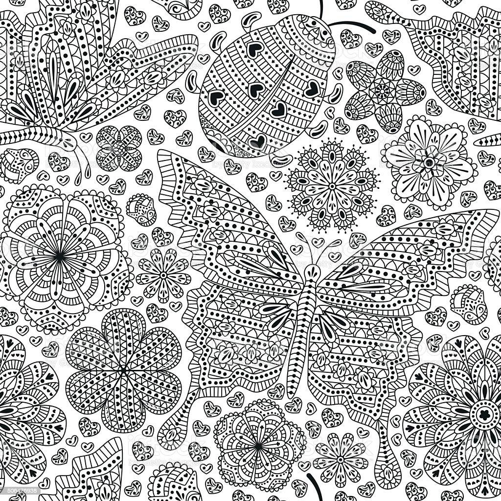 Ilustración de Patrón Sin Costuras Con Flores Y Mariposas Corazones ...