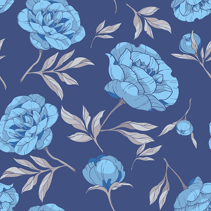 seamless pattern with flowers of blue peonies, with gray leaves on a blue background. vector illustration