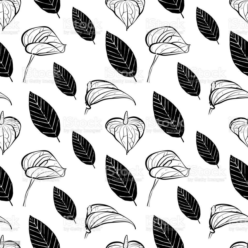 Seamless Pattern With Flowers Of Calla Lily And Leaves In Black And