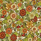 Seamless pattern with flowers. Ornate doodle