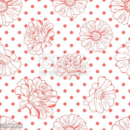 Seamless pattern with flowers (zinnia, camomile, daisy). Polka dots, spotted design. orange color on white.