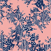 istock Seamless pattern with flowers silhouettes mixed with animal skin 1227594590