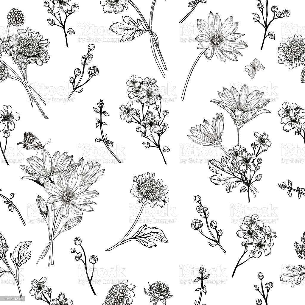 Seamless pattern with flowers. vector art illustration