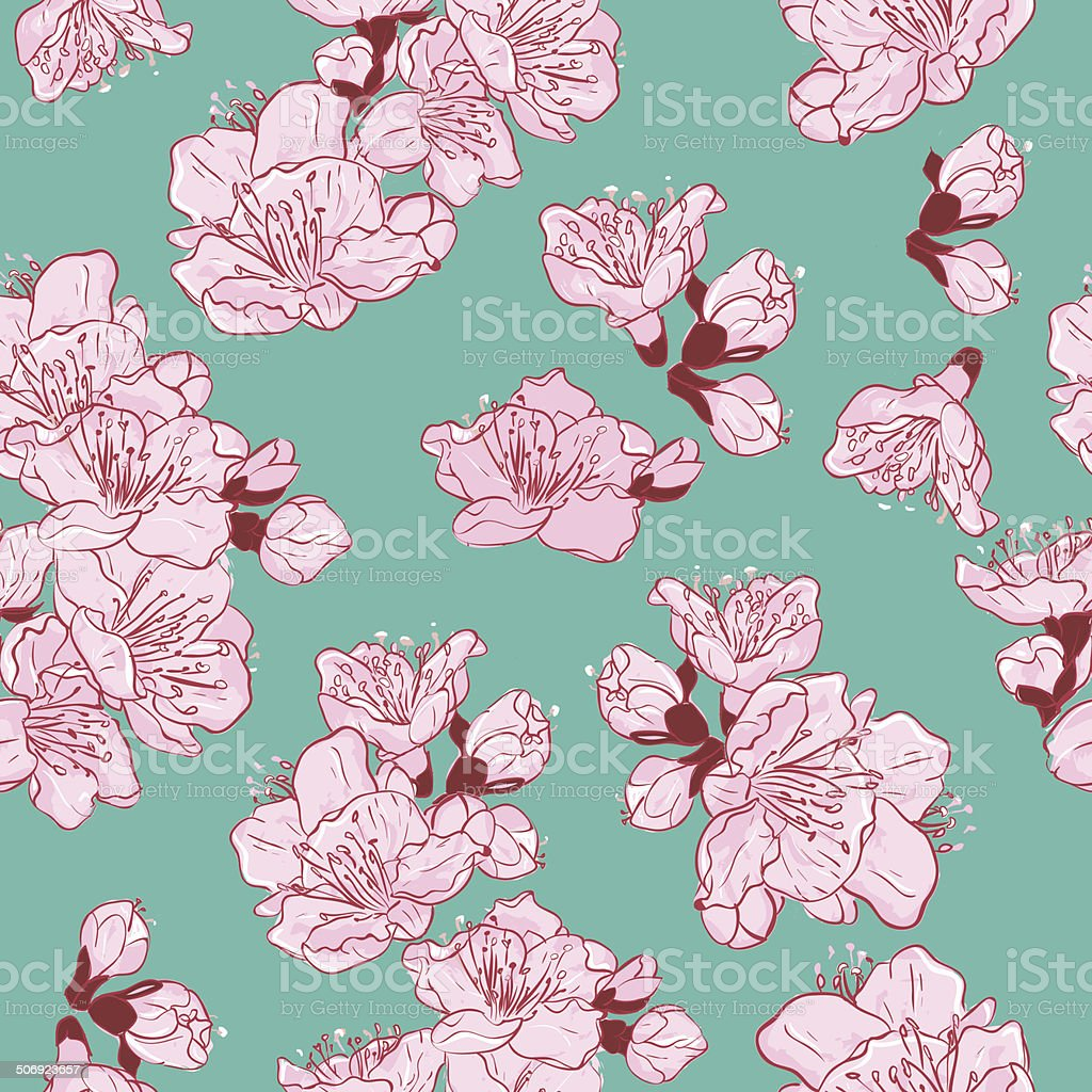 Seamless Pattern  with flowers vector art illustration