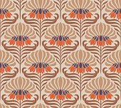 Elegant Seamless pattern with flowers in Art Nouveau style.