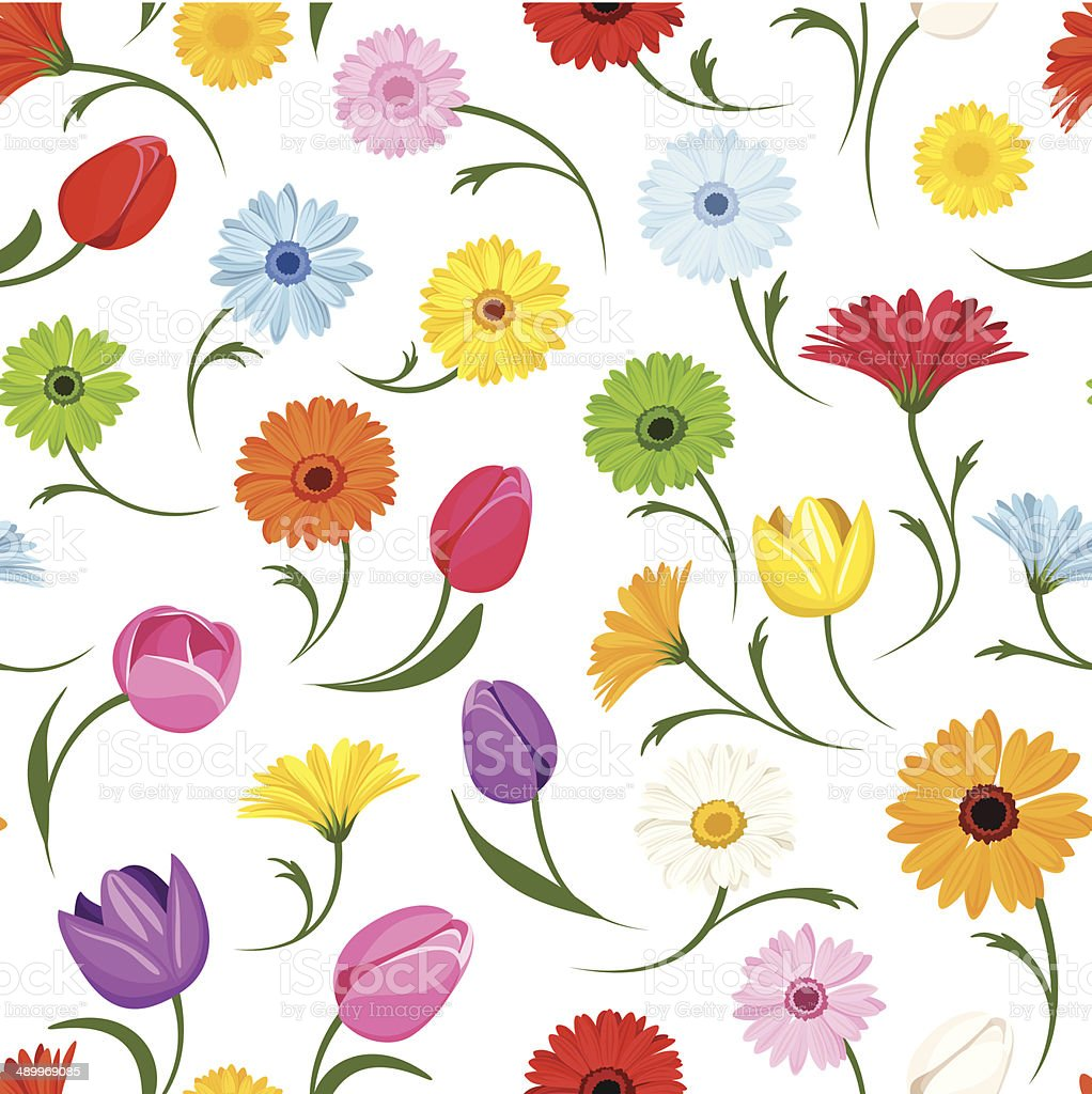 Seamless pattern with flowers. Vector illustration. royalty-free stock vector art